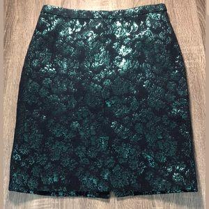 J. Crew Metallic floral navy & green pencil skirt